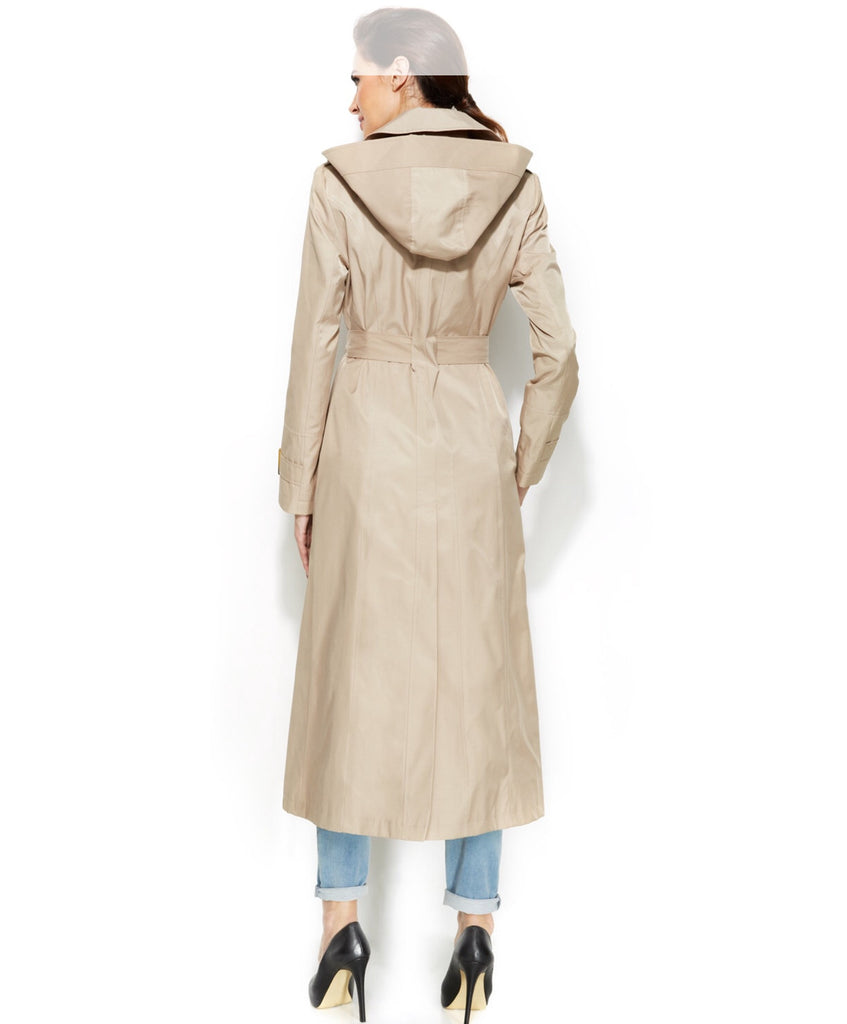 DKNY Maxi Trench Coat With Hood - PitaPats.com