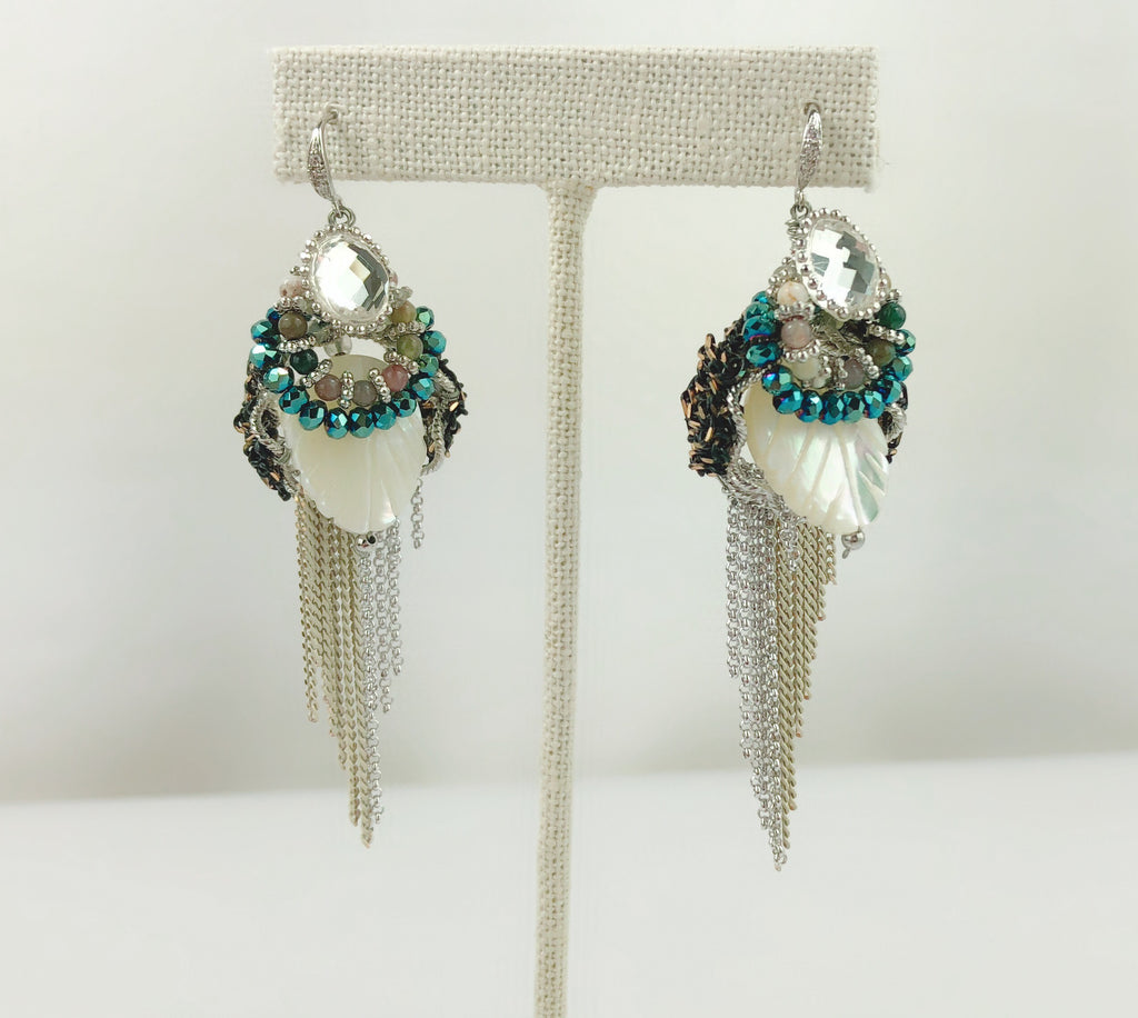 HANDMADE OOAK Victorian vintage style Crystal and Jade Earring - PitaPats.com