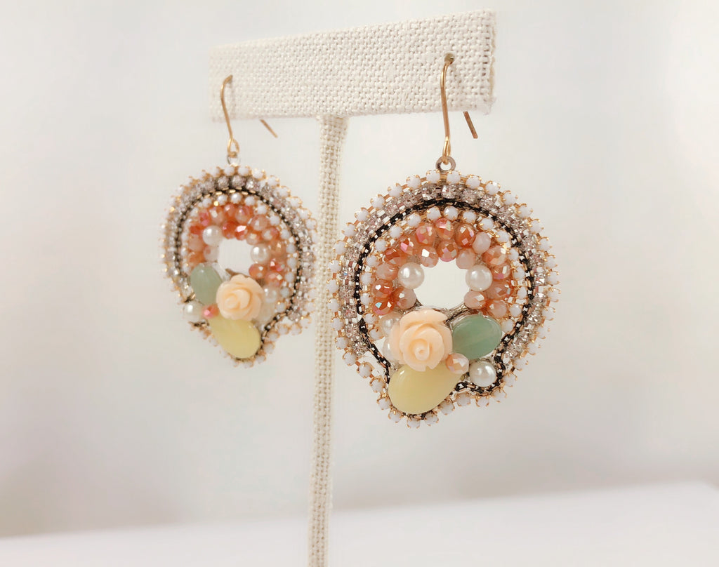 HANDMADE OOAK Vintage Style Circle Multi Stoned With Roes Earring - PitaPats.com