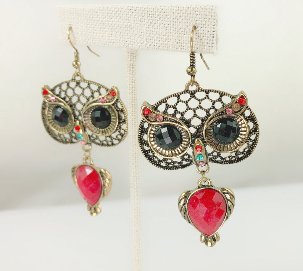 Beatiful Vintage Style Retro Big Black Eye Owl Earrings - PitaPats.com