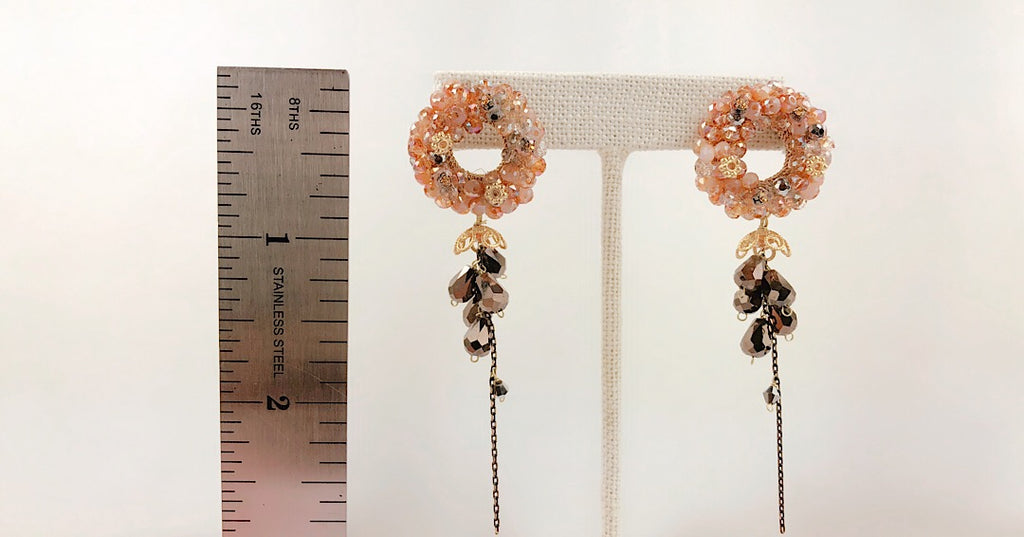 HANDMADE OOAK Vintage Style Peach Crystal Circle Earring - PitaPats.com