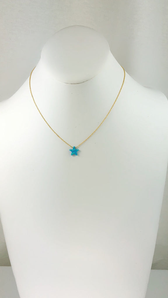 Sterling Silver Blue Moon Star Opal Necklace