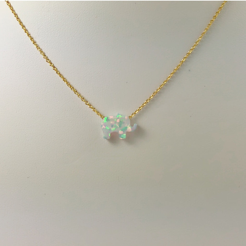 Sterling Silver White Moon Elephant Opal Necklace