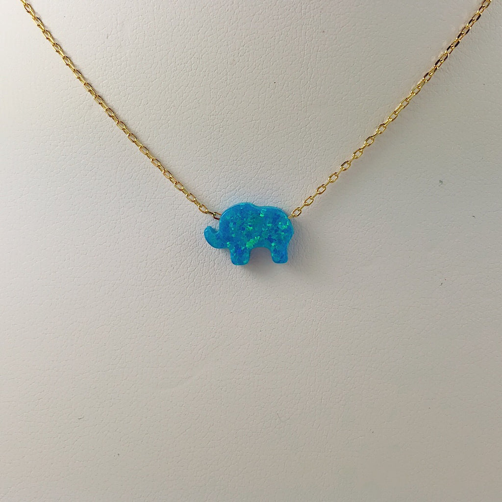 Sterling Silver Blue Moon Elephant Opal Necklace