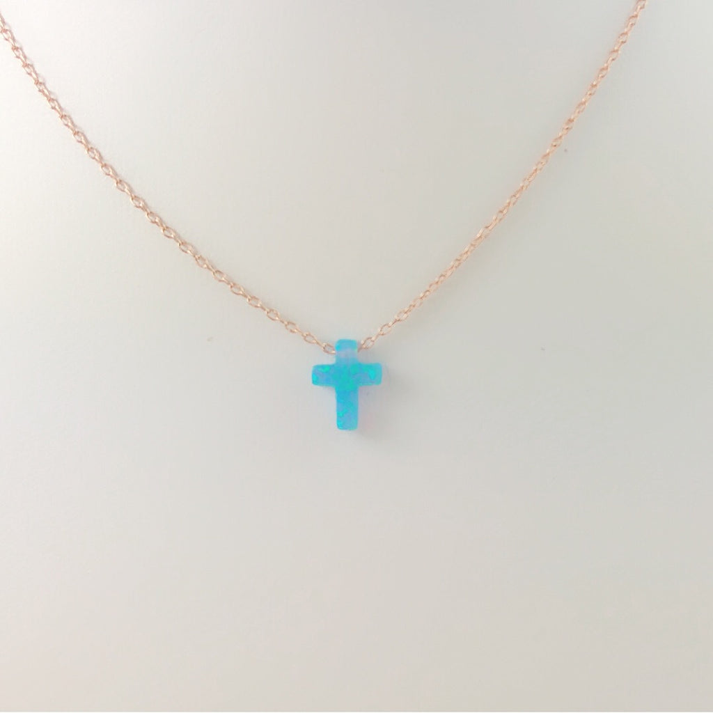 Sterling Silver Caribbean Light Blue Moon Star / Cross Opal Necklace