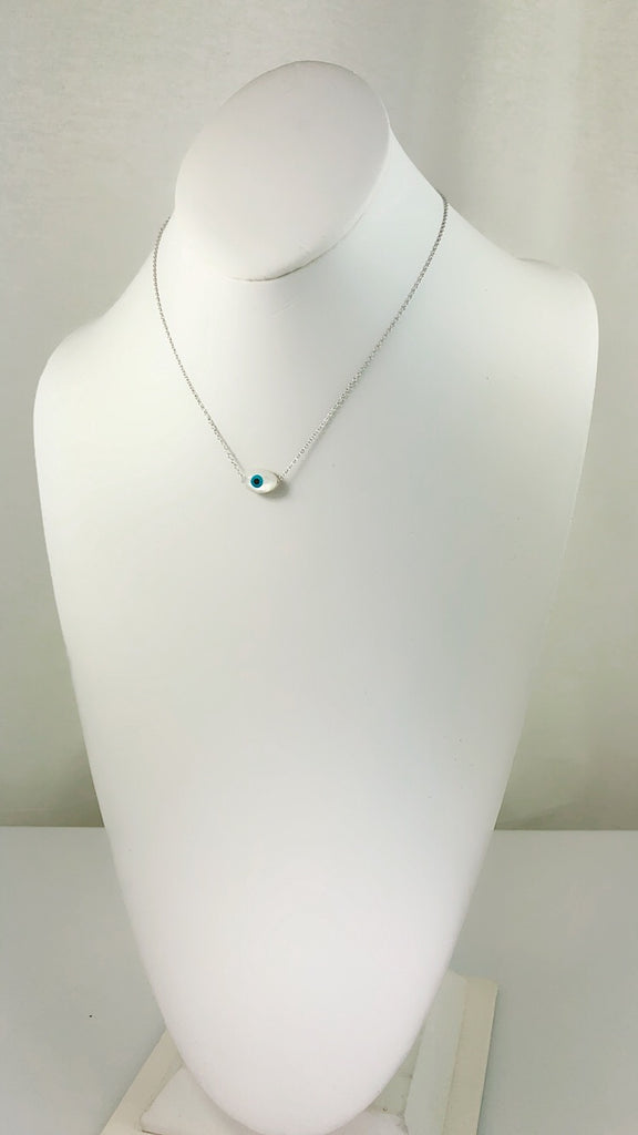 Sterling Silver Caribbean Clean Evil Eye Mother of Pearl Necklace