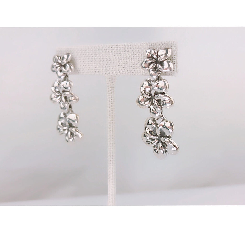 Isabbella M Boston Sterling Silver Hawaiian Flower danggling Earring - PitaPats.com
