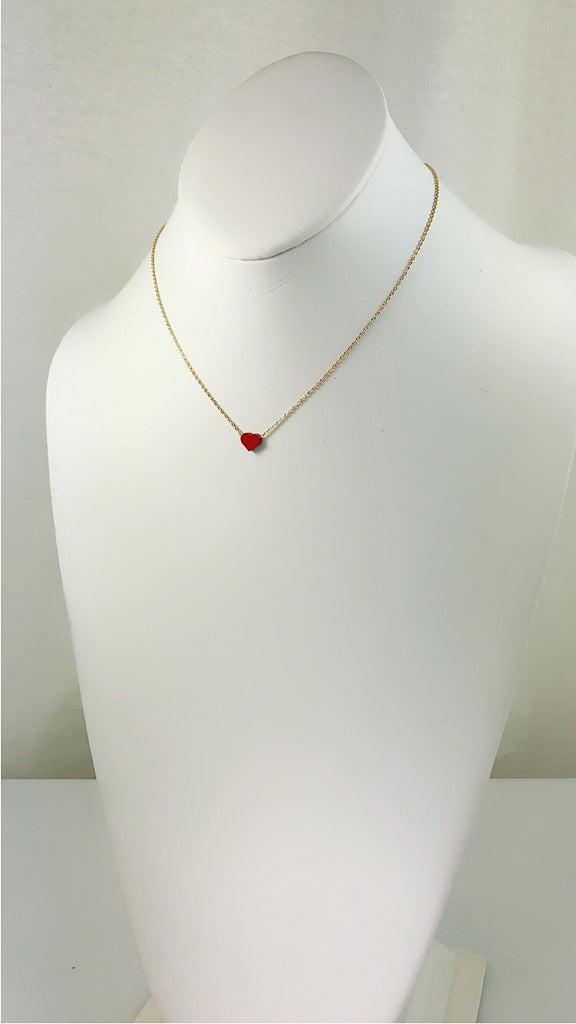Simplicity tiny RED Star / Heart mini gold Necklace