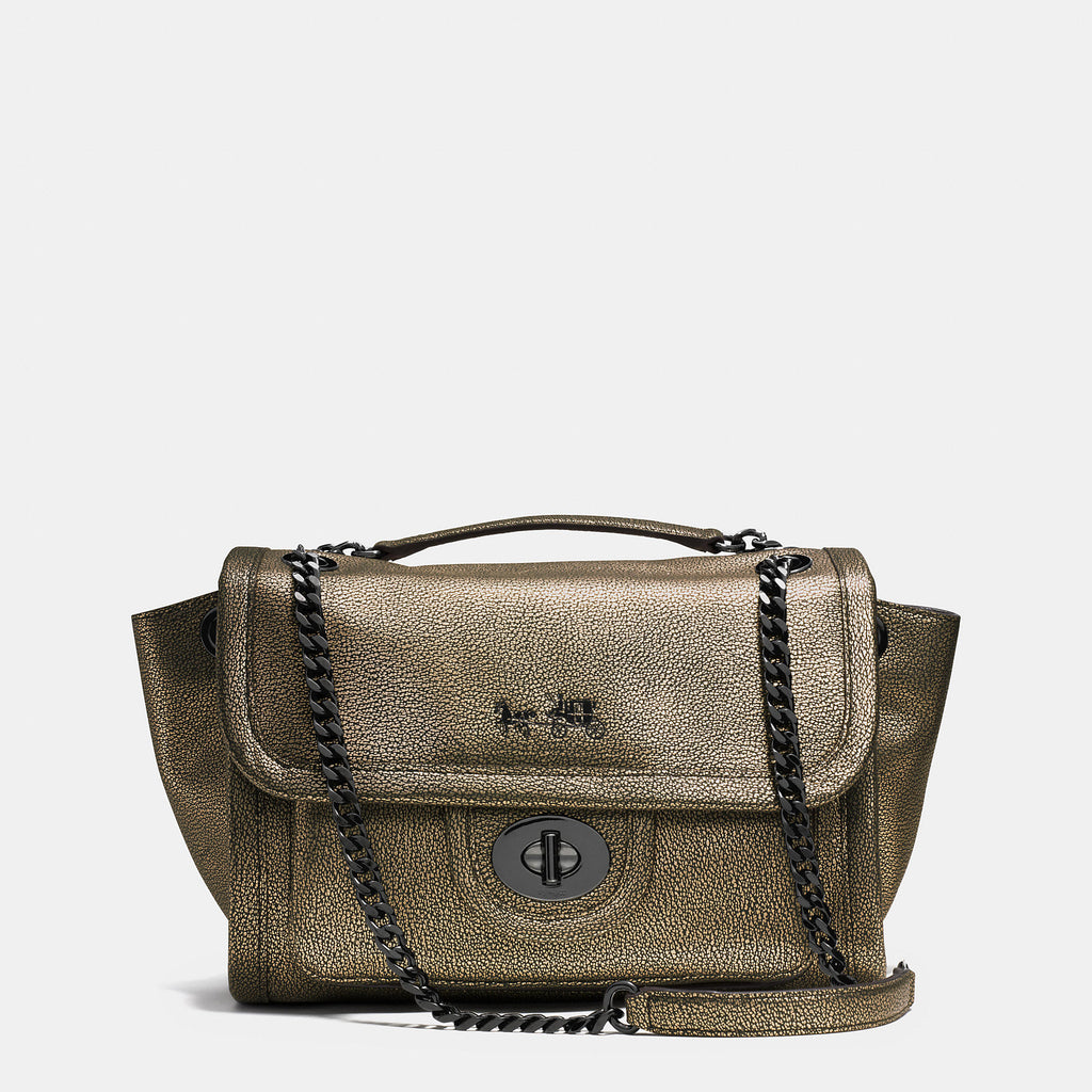 COACH RANGER FLAP CROSSBODY IN METALLIC LEATHER - PitaPats.com
