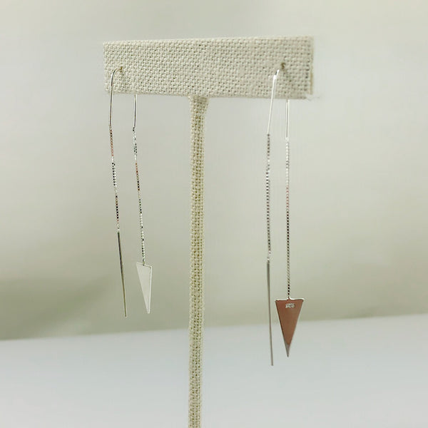 Sterling Silver Tiny Triangle String Earring