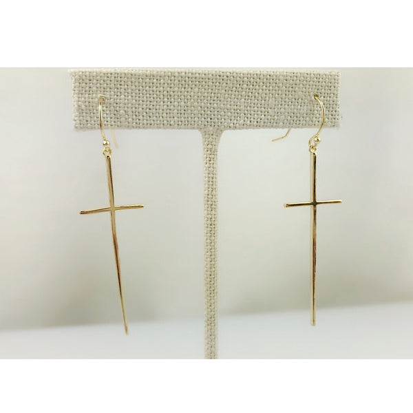 Sterling Silver Long Cross Earring