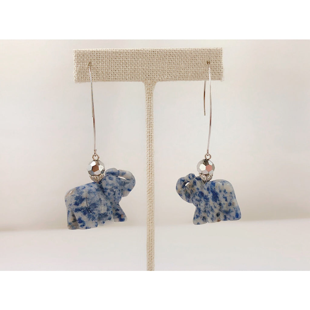 Elephant Shape Long Hook Earring - Blue Marble Genuine Stone - PitaPats.com