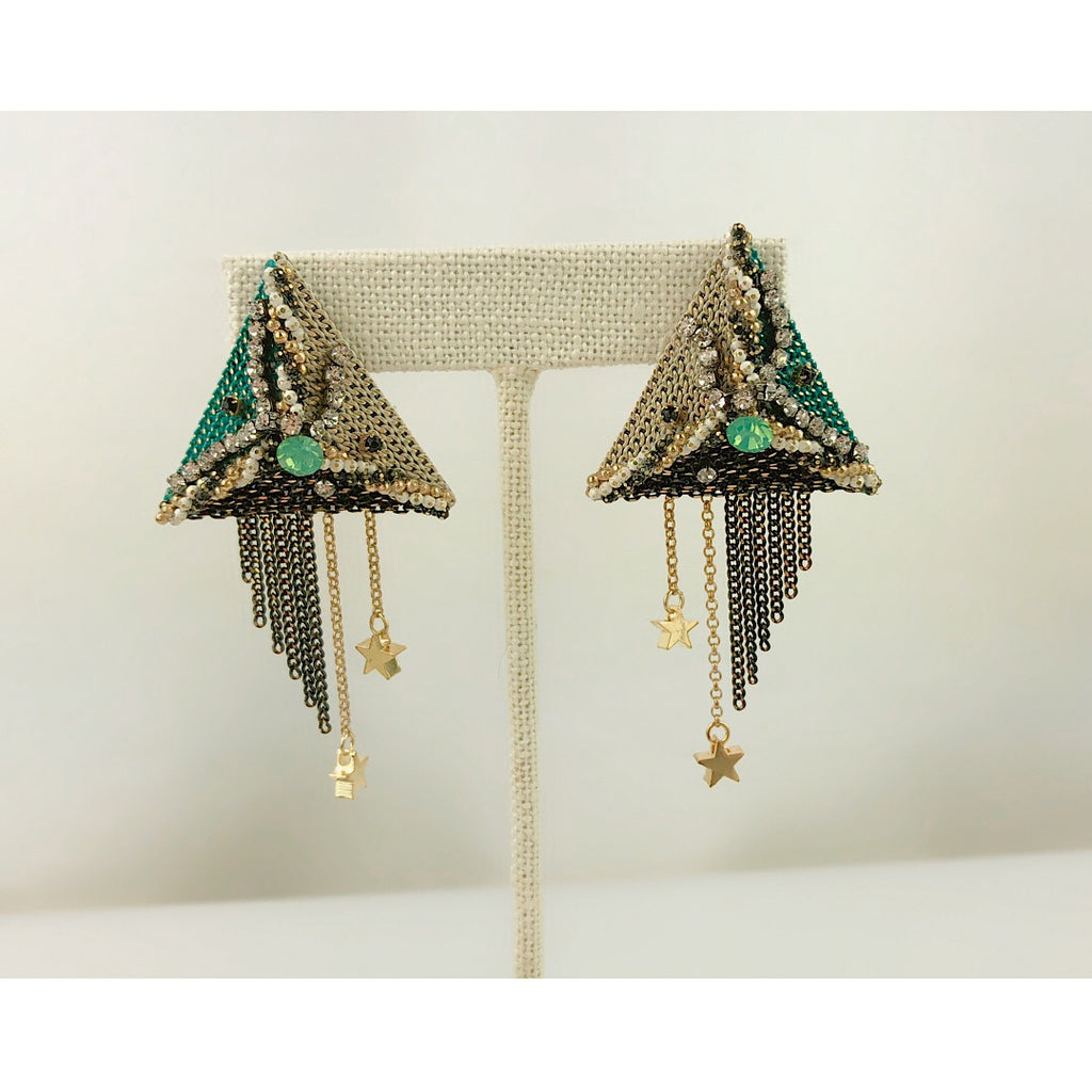 Handmade OOAK SoHo styles beautiful pyramid triangle crystal earring - PitaPats.com