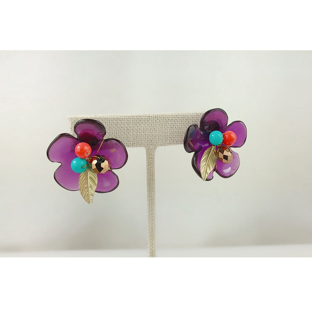 HANDMADE OOAK Pretty Purple Flower earring - PitaPats.com