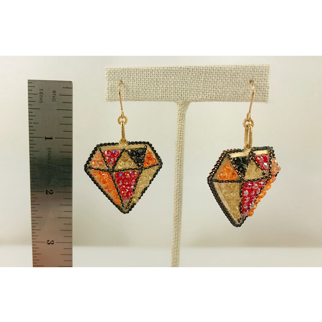 HandMade SoHo style Colorful Crystals Filled in Diamond Shape Earrings - PitaPats.com