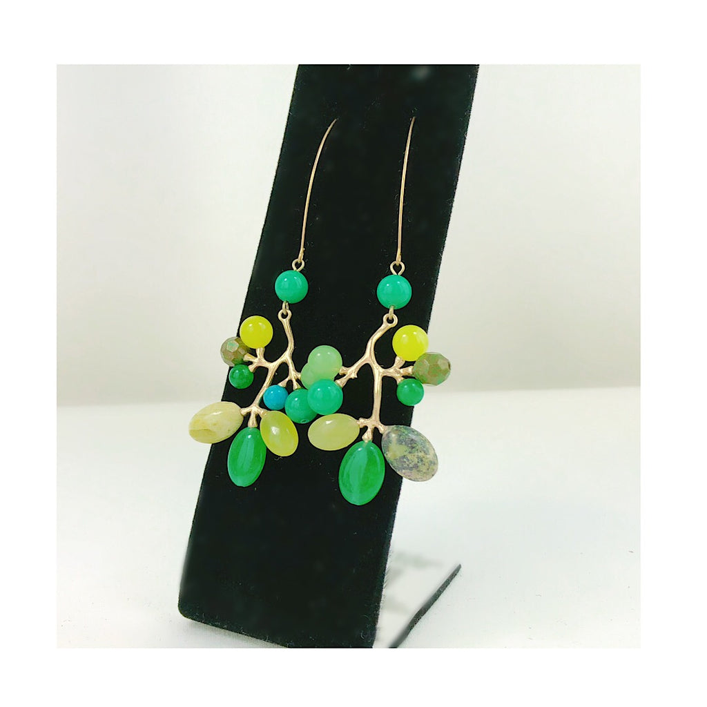 HANDMADE Tree of Natural Beads Stone Leaves Hoop Earring - PitaPats.com
