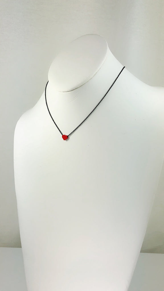 Simplicity tiny RED Star / Heart mini black line Necklace