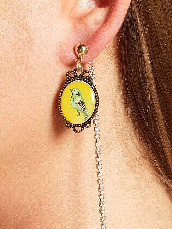 Cara Accessories Parrot Cameo & Crystal Chain Front/Back Earrings - PitaPats.com