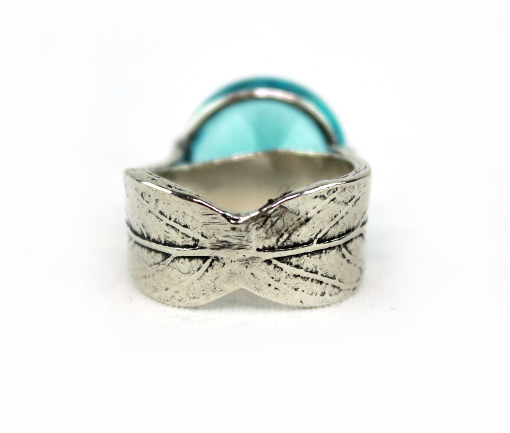 Made In Israel Sterling Silver Blue Cubic Ziconia High Set Ring - PitaPats.com