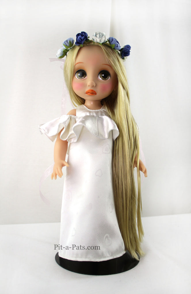 Custom Disney Animator Doll - The Rapunzel in white Dress - PitaPats.com