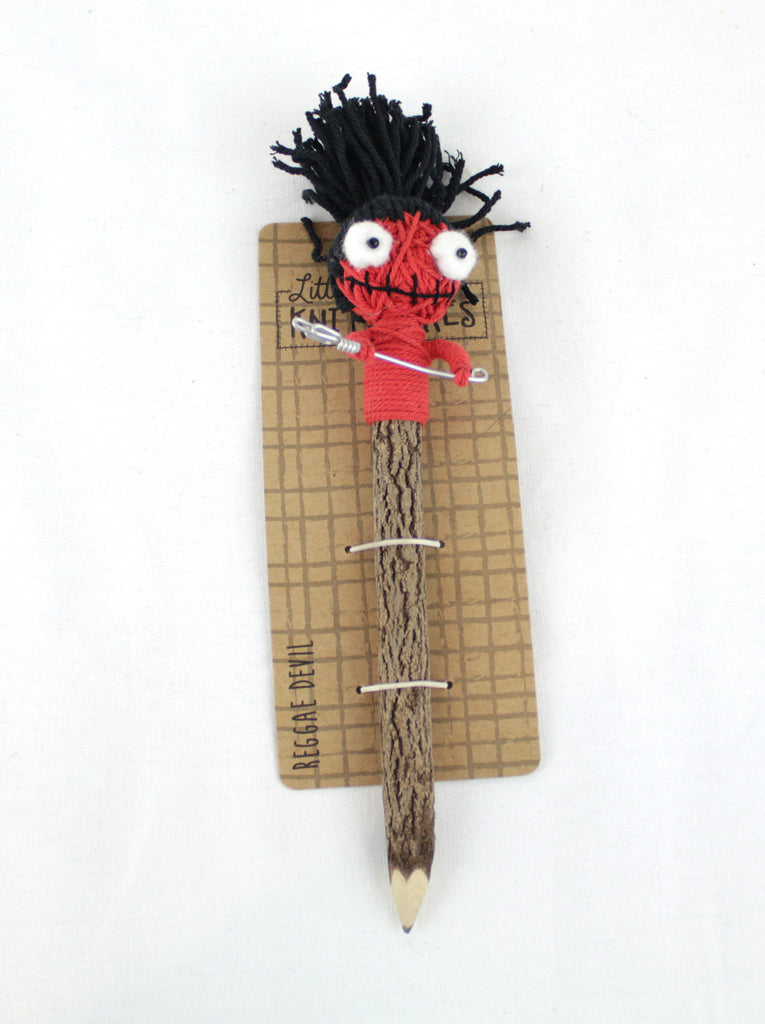 Crazy Head Topper Wooden Pencil with Crazy Doll - REGGAE DEVIL - PitaPats.com
