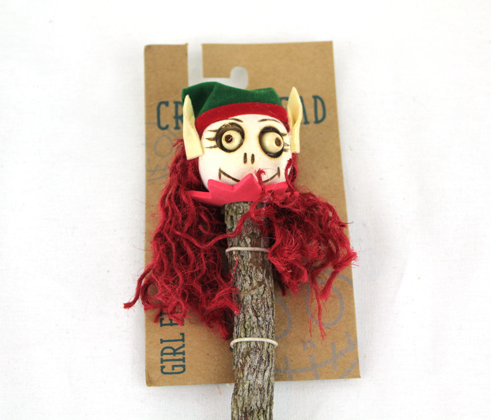 Crazy Head Topper Wooden Pencil with Crazy Doll - GIRL ELF - PitaPats.com