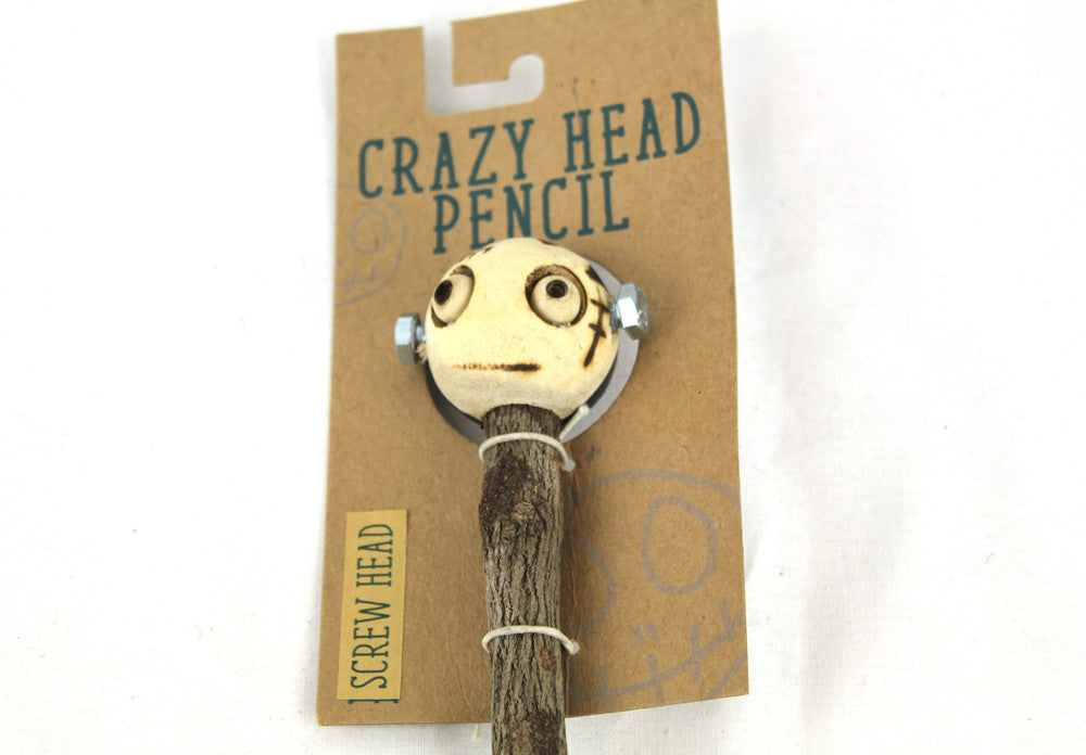 Crazy Head Topper Wooden Pencil with Crazy Doll - Screw Head - PitaPats.com