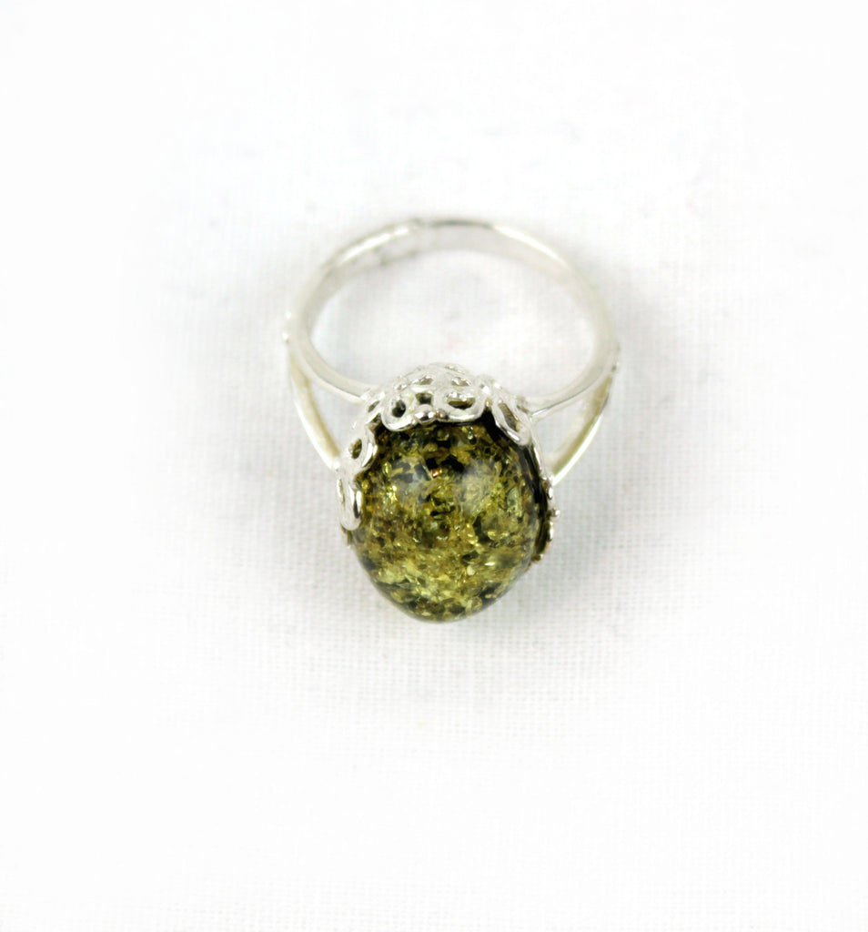 Sterling Silver Genuine Green Amber Amulet Ring