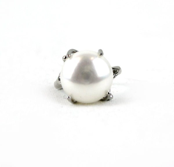 Bold Genuine Pearl Sterling Silver Ring