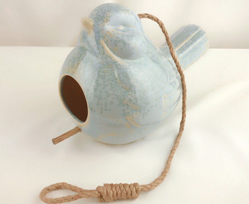 "Novogratz Ceramic Bird Earthenware Birdhouse - 7"" x 10"""