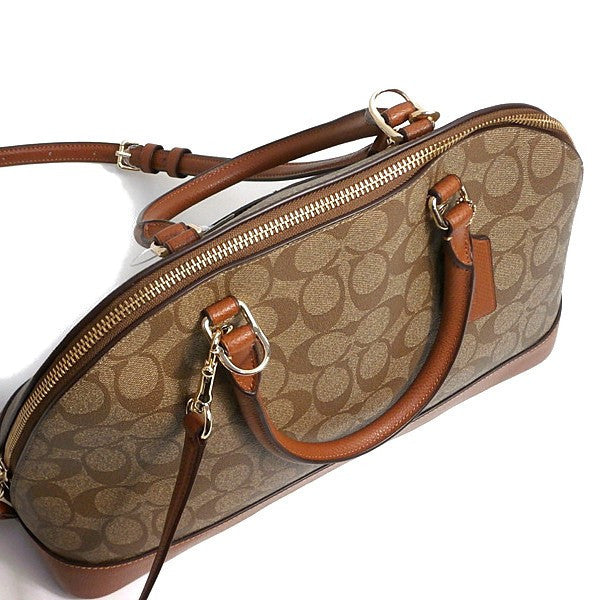 COACH SIERRA SATCHEL IN SIGNATURE - GOLD/KHAKI/SADDLE - PitaPats.com