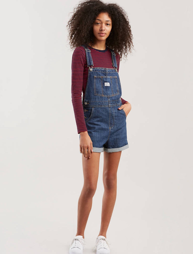 LEVI'S® Vintage Denim Short Overalls Medium Wash