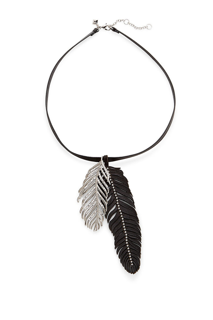 Rebecca Minkoff Runway Fall 15 Leather Feather Pendant Necklace