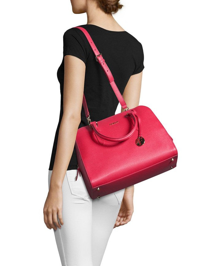 Furla Elena Medium Leather Satchel Bag, Ruby - PitaPats.com