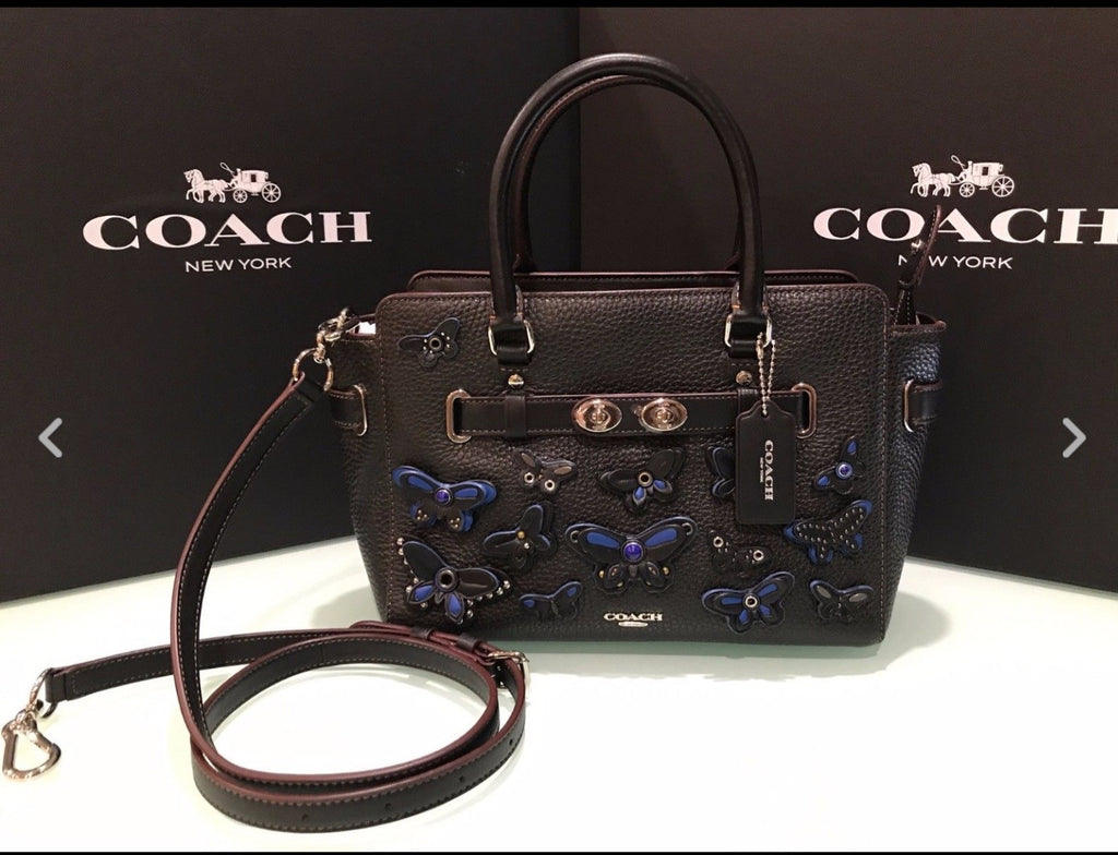 COACH BLAKE CARRYALL 25 IN PEBBLE LEATHER WITH ALL OVER BUTTERFLY APPLIQUE - PitaPats.com