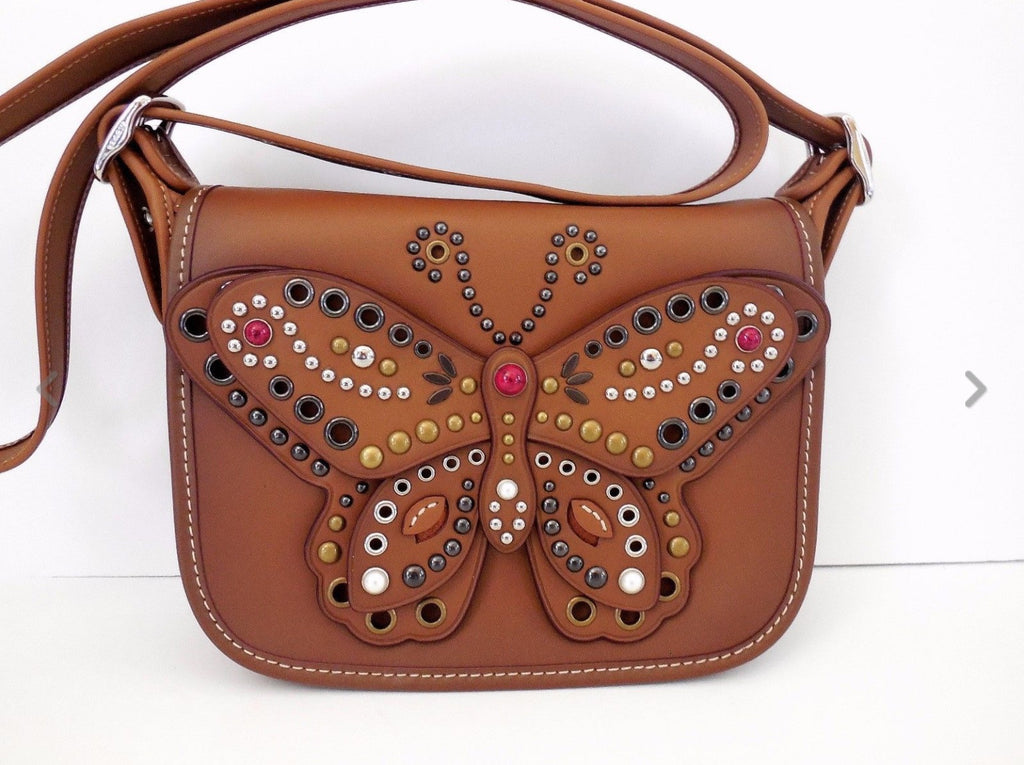 COACH PATRICIA SADDLE BAG 23 IN GLOVE CALF LEATHER WITH BUTTERFLY STUD - PitaPats.com
