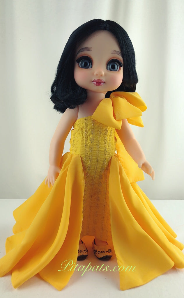 Custom Disney Animator Doll Snow White Goddess In Bright Yellow Golden Dress