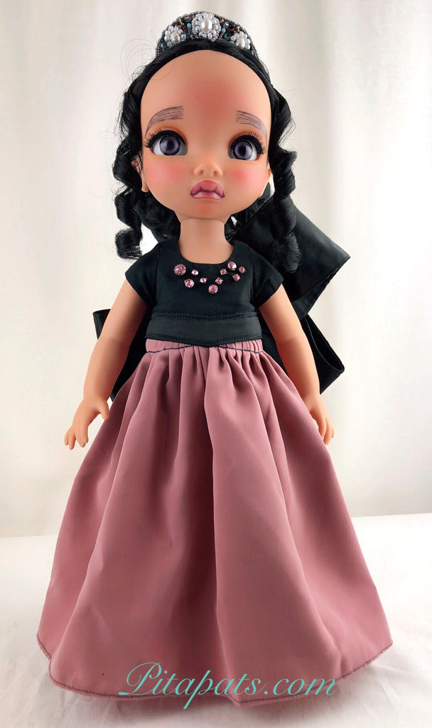 Custom Disney Animator Doll - Pocahontas in big bow pink princess dress