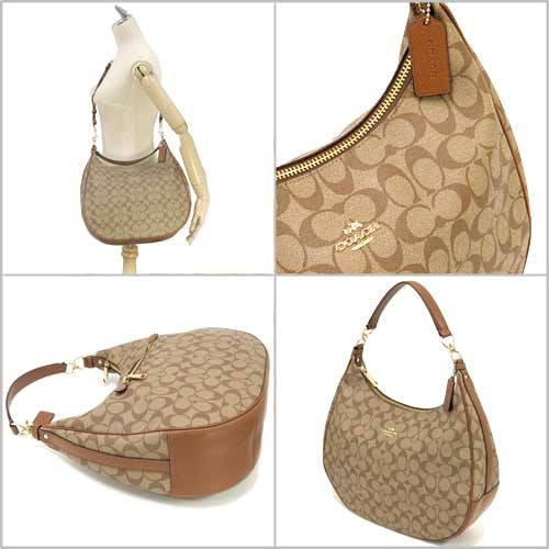 COACH HARLEY HOBO IN SIGNATURE - GOLD/KHAKI/SADDLE color - PitaPats.com