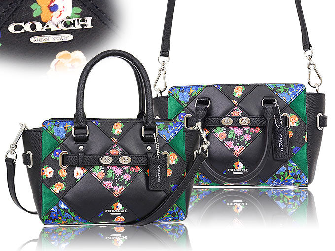 COACH MINI BLAKE CARRYALL IN FLORAL PATCHWORK LEATHER - PitaPats.com