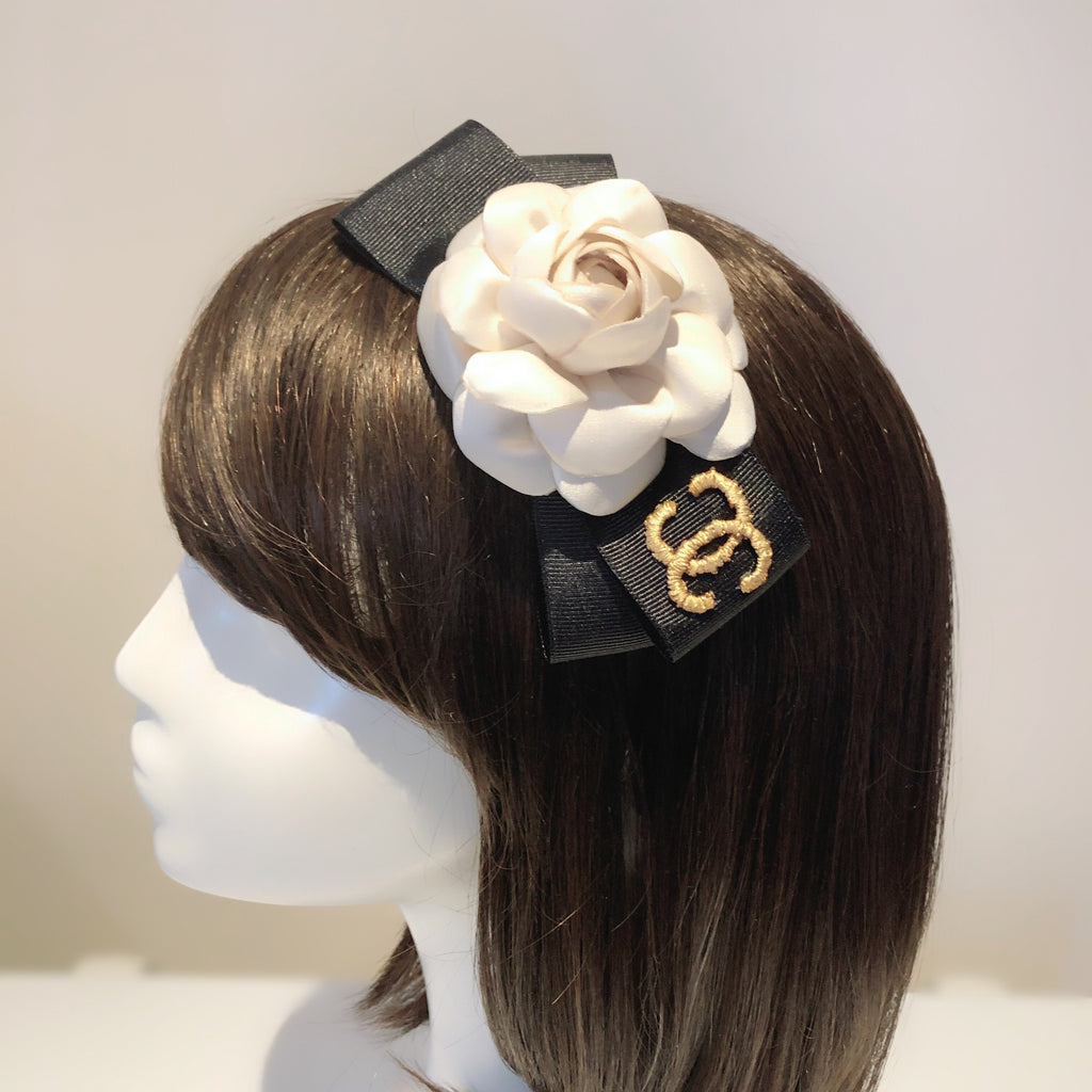 Luxury Brand Style Bow Cream Satin Camellia Headband / Hair Clip /Brooch