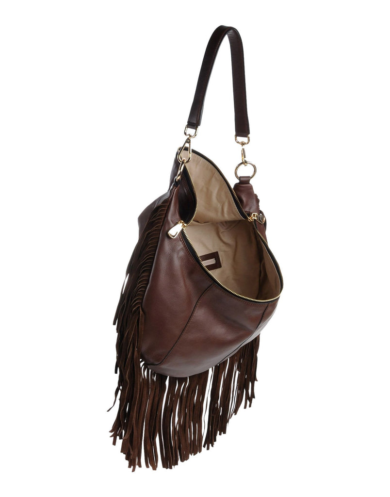 INNUE Made In Italy Suede Fringe Hobo - PitaPats.com