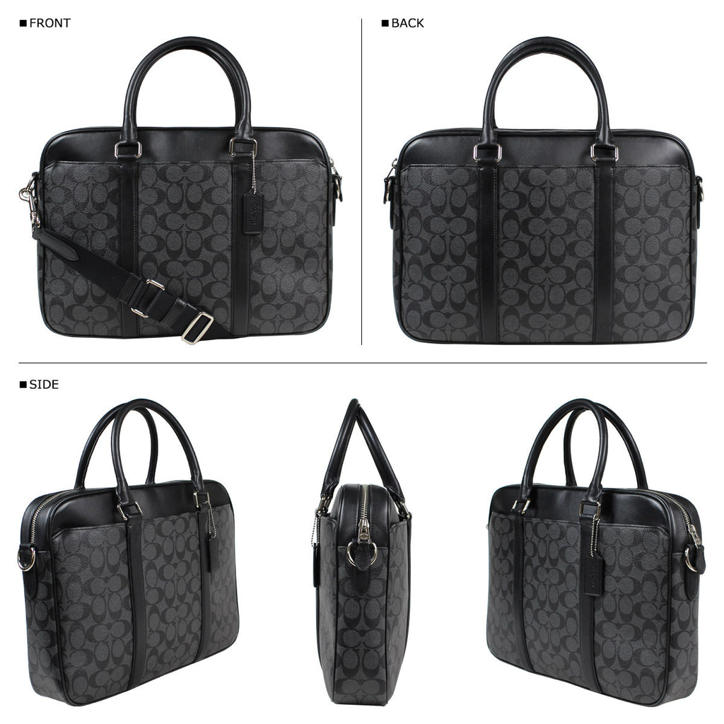 COACH PERRY SLIM BRIEF IN SIGNATURE - BLACK - PitaPats.com
