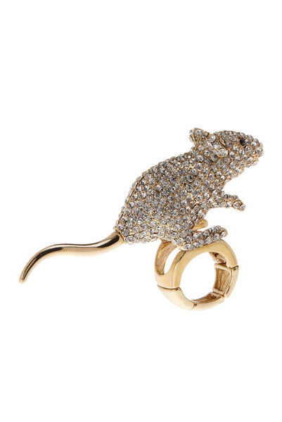 BETSEY JOHNSON Pave Crystal Stretch Mouse Ring