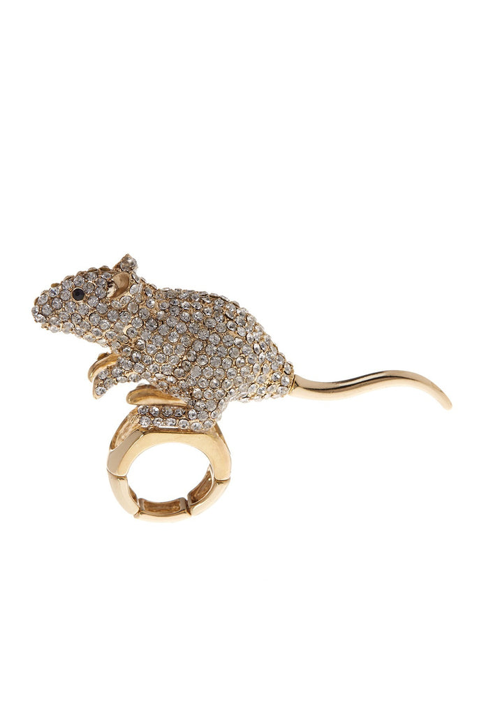 BETSEY JOHNSON Pave Crystal Stretch Mouse Ring - PitaPats.com