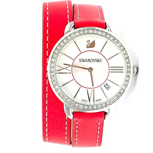 SWAROVSKI Women's Swiss Made Alia Day Double Tour Leather Strap Watch