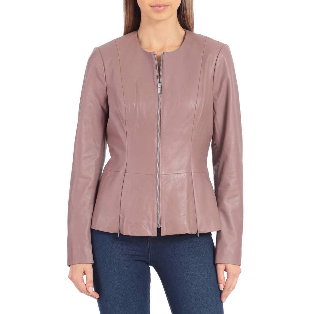 Badgley Mischka Peplum Leather Jacket - Rose Wood