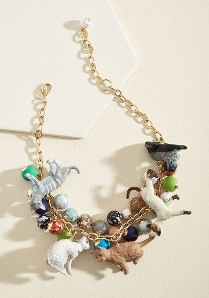 LENORA DAME Made In USA Cat Party Necklace