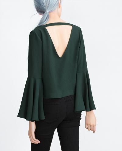 INA Bell Sleeve Open Back Kelly Green Top - PitaPats.com