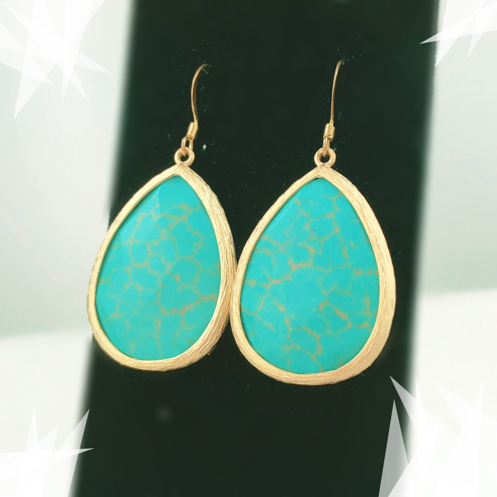 Turquoise Tear Drop Earring - Simulated Glass - PitaPats.com